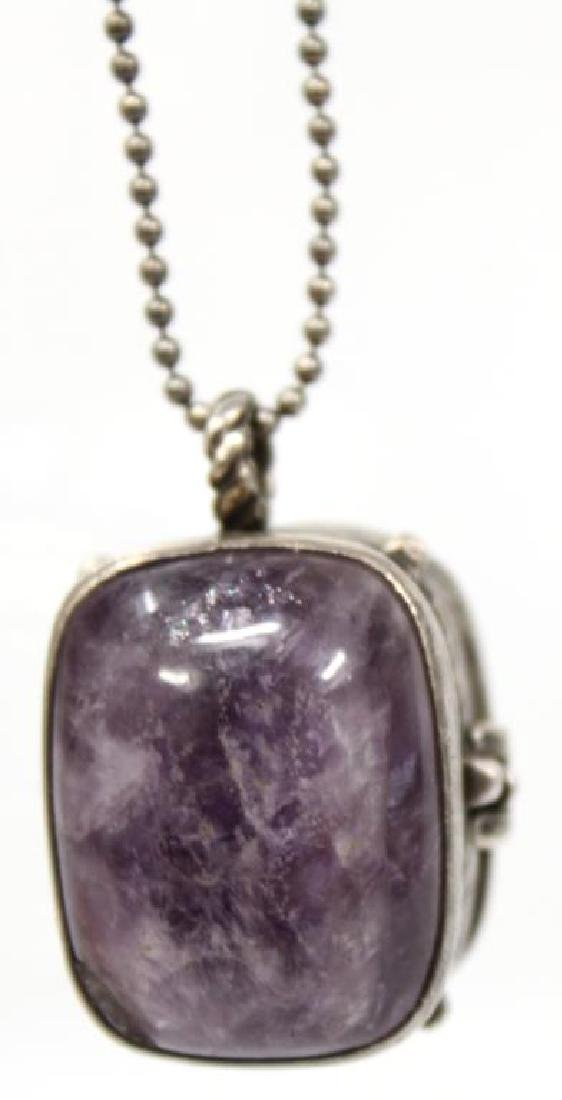 William Spratling Silver & Amethyst Locket Pendant