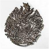 Chinese Silver Phoenix Brooch Vintage