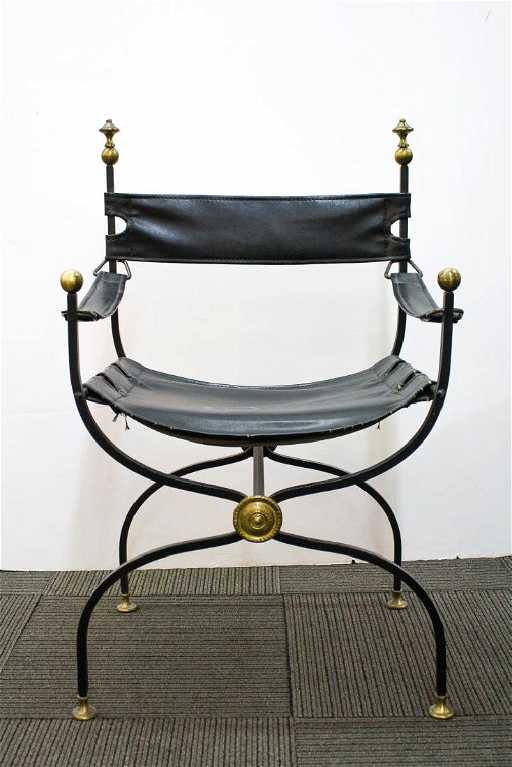Italian Savonarola Chair Wrought Iron Leather