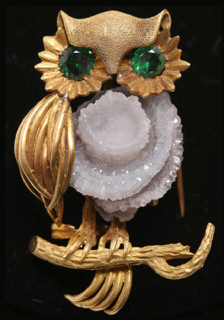 Owl Brooch, 18K Gold, Druzy Geode, & Spinel