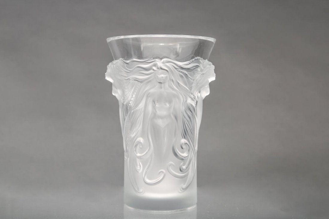 """Lalique Glass """"Fantasia"""" Vase, Frosted Crystal"""