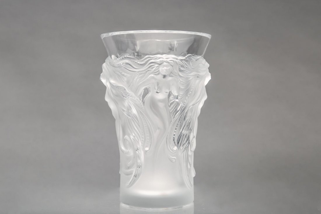 """Lalique Glass """"Fantasia"""" Vase, Frosted Crystal - 2"""