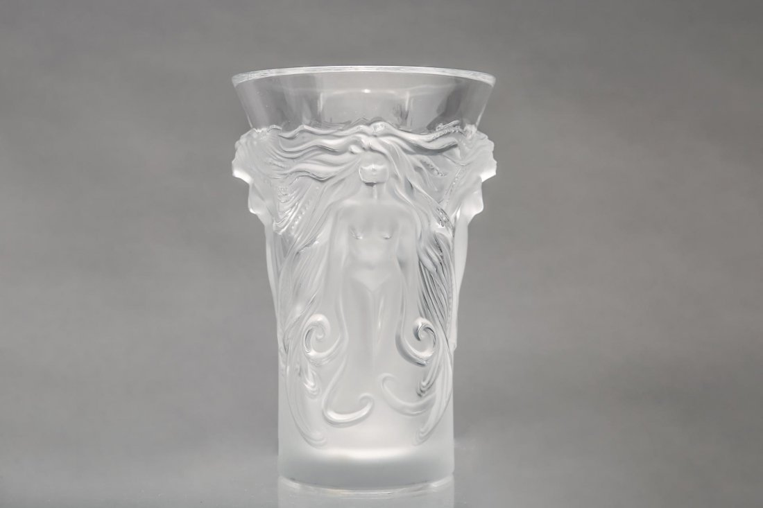 """Lalique Glass """"Fantasia"""" Vase, Frosted Crystal - 3"""