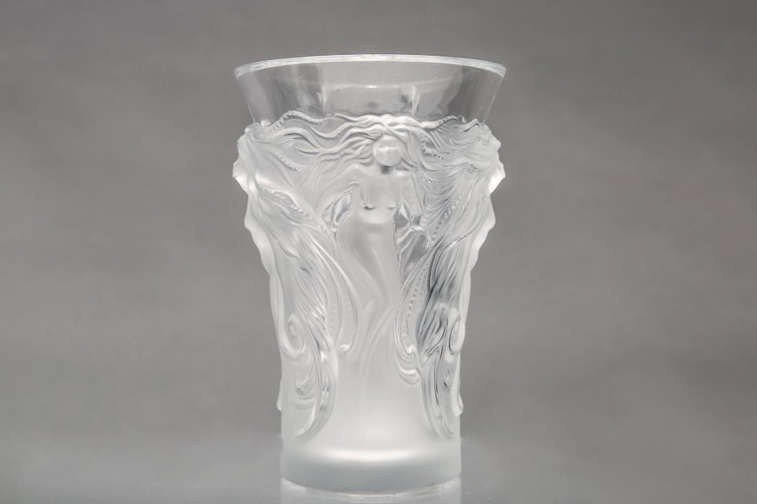 """Lalique Glass """"Fantasia"""" Vase, Frosted Crystal - 4"""
