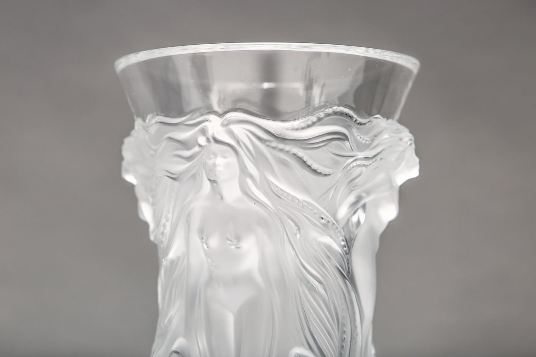 """Lalique Glass """"Fantasia"""" Vase, Frosted Crystal - 6"""