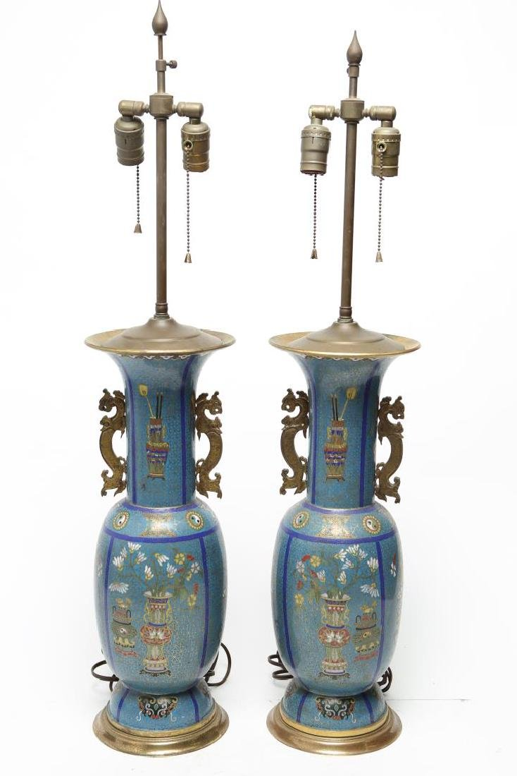 Chinese Cloisonne Vase Lamps, Vintage Pair