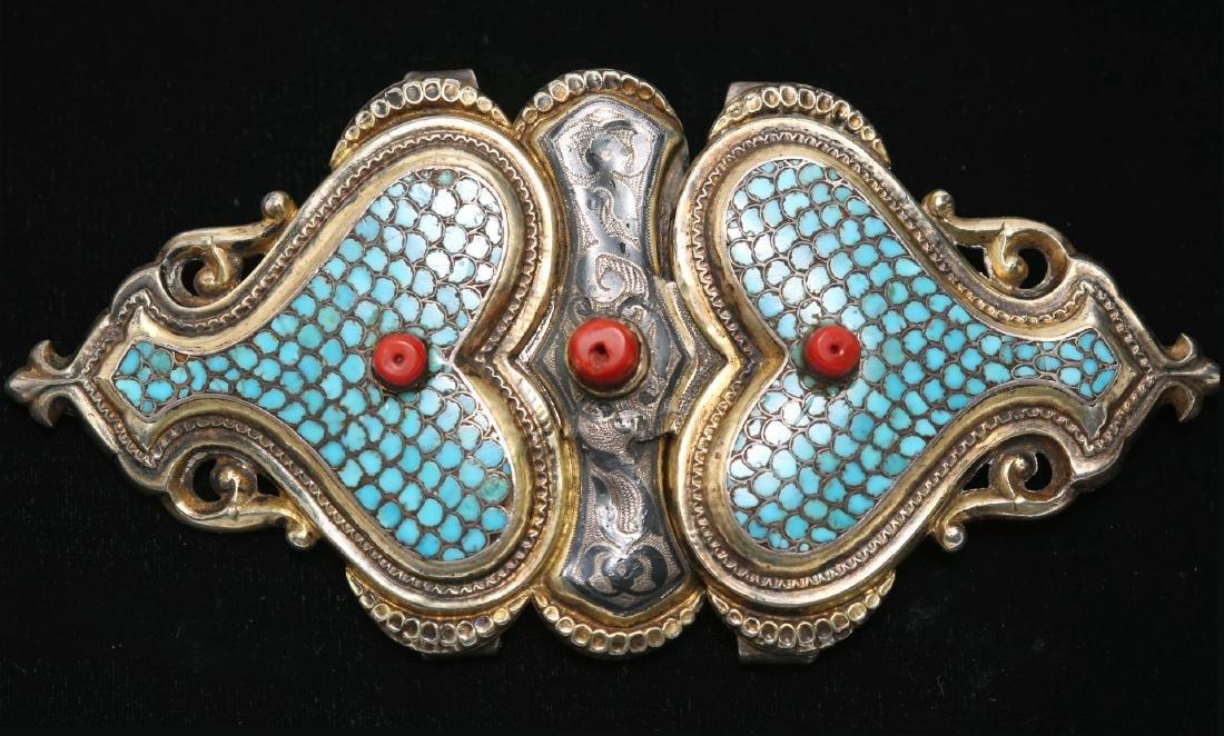 Caucasian Silver Buckle- Turquoise, Niello & Coral