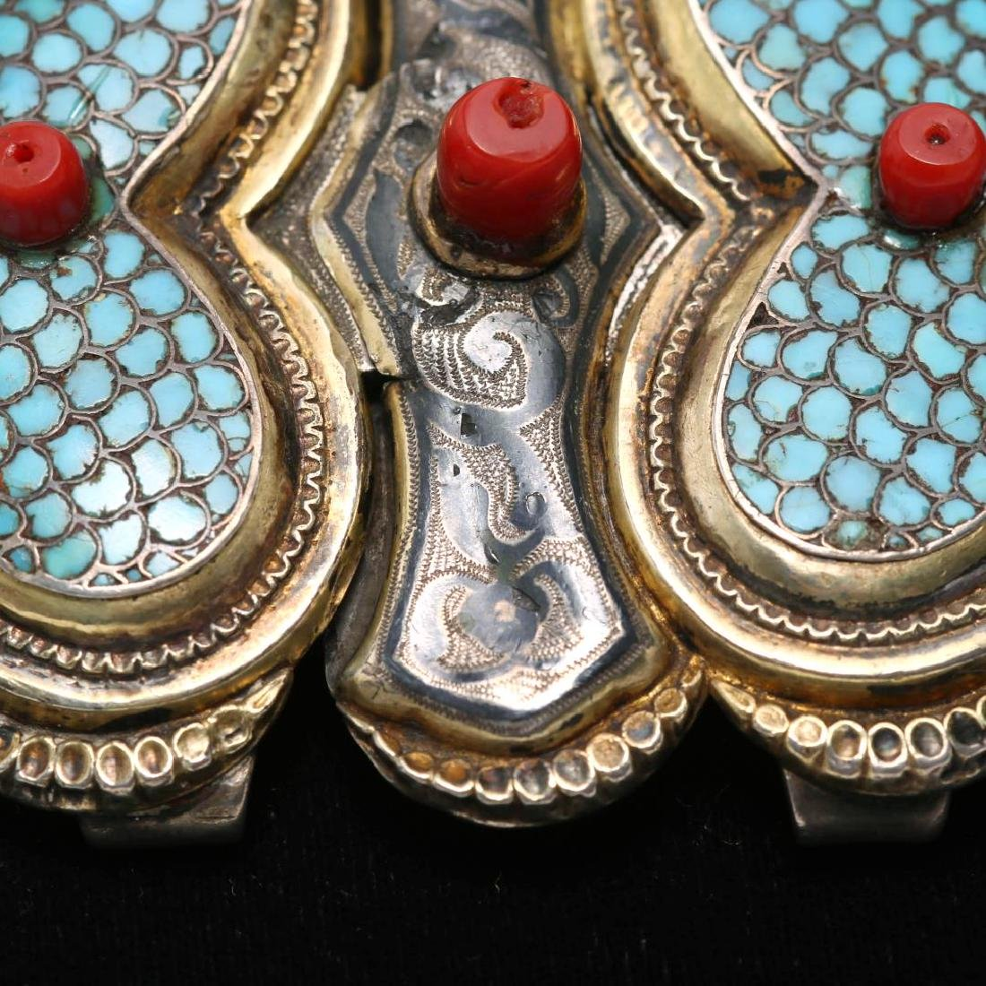 Caucasian Silver Buckle- Turquoise, Niello & Coral - 3