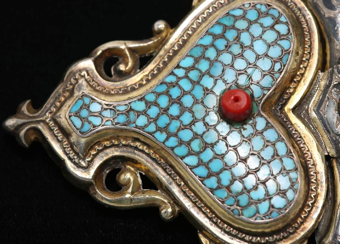 Caucasian Silver Buckle- Turquoise, Niello & Coral - 4