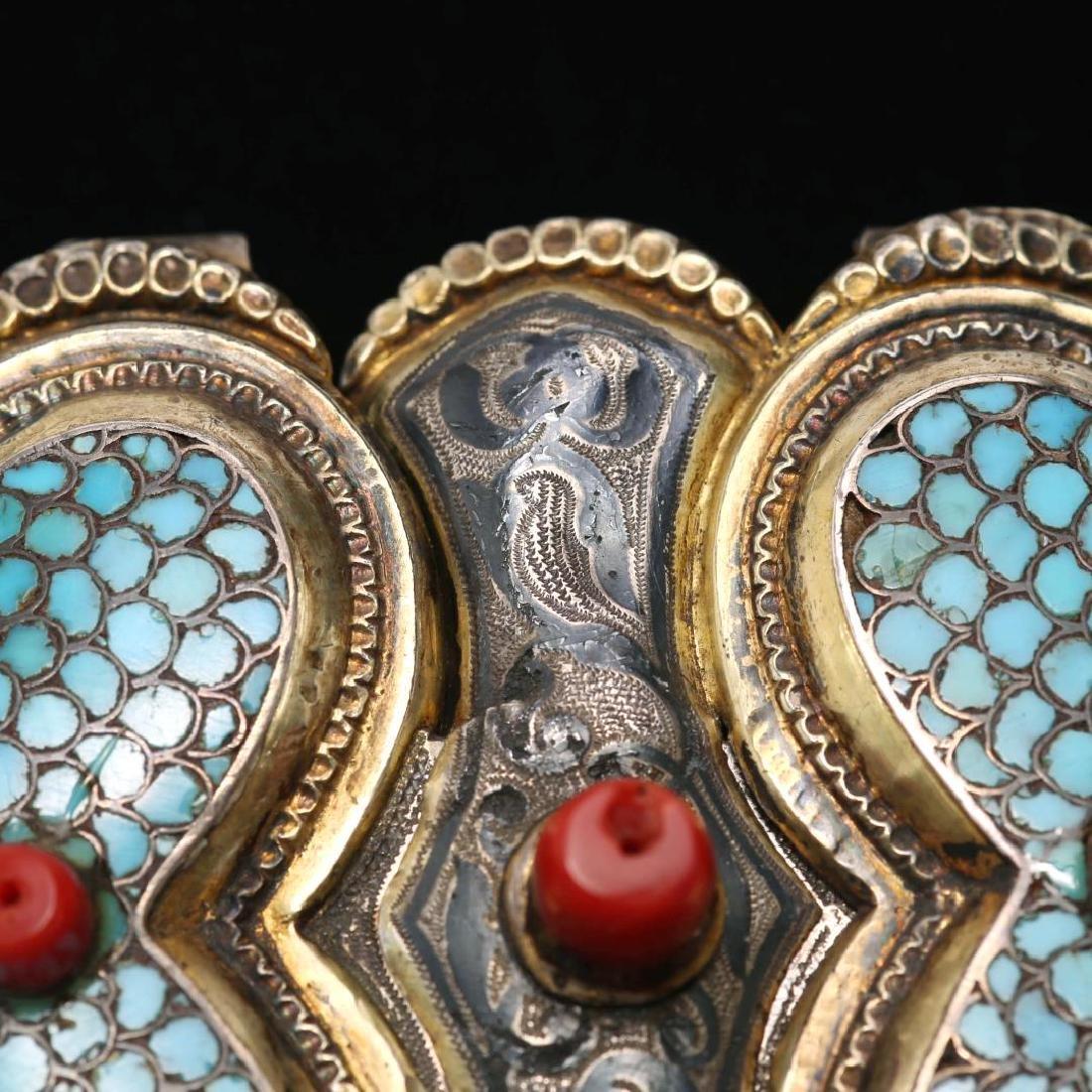 Caucasian Silver Buckle- Turquoise, Niello & Coral - 5
