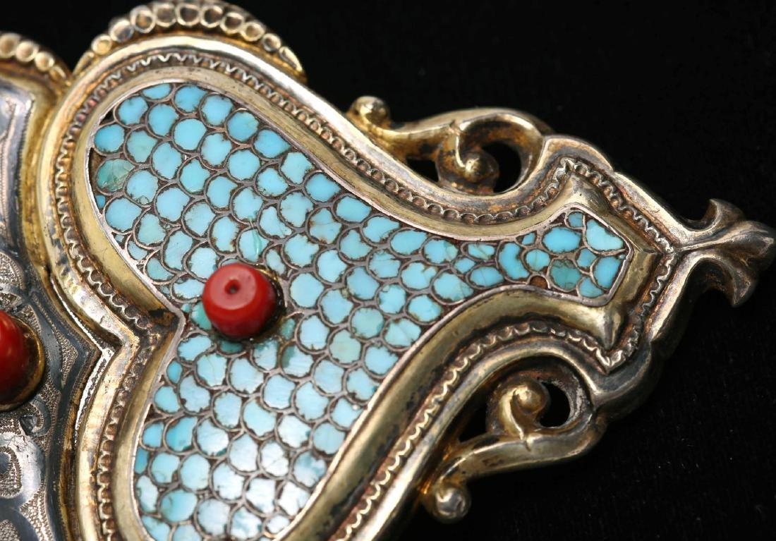 Caucasian Silver Buckle- Turquoise, Niello & Coral - 6