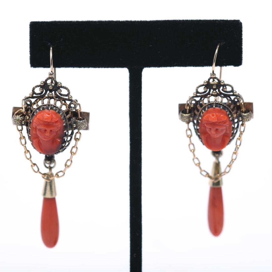 Coral Cameo Earrings, Antique in Ornate 14K Gold