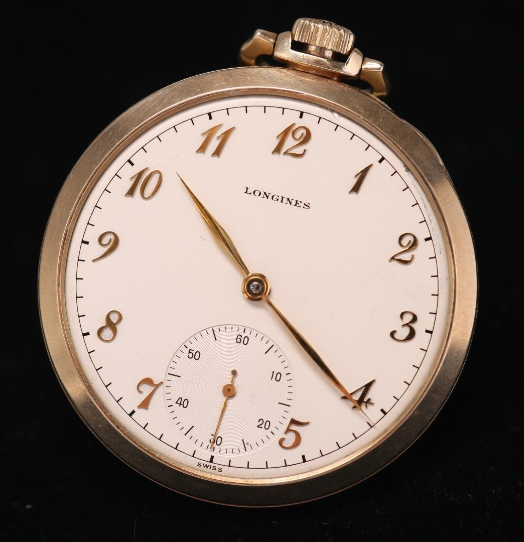 Longines Pocket Watch, 14K Gold Case, Vintage