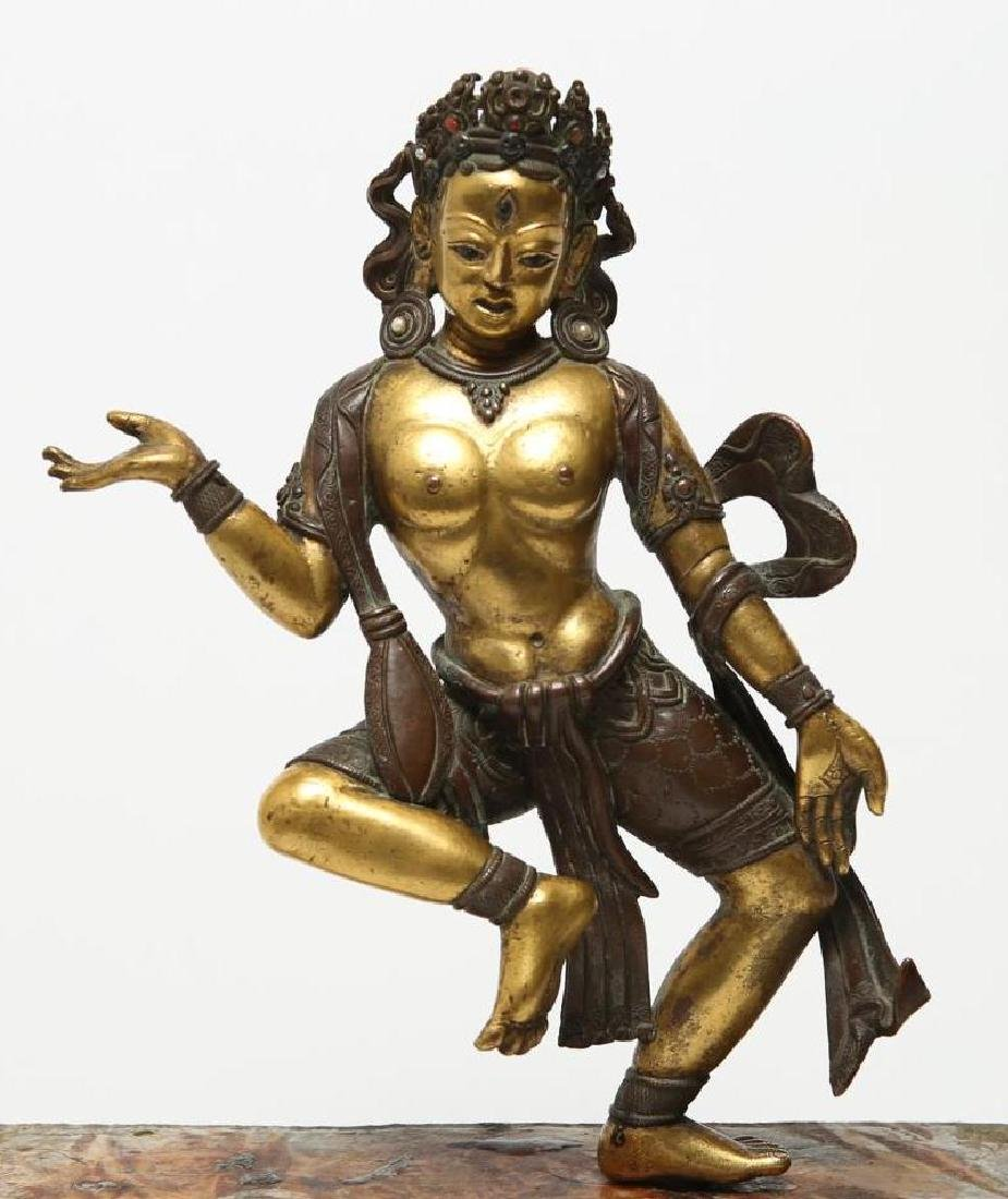 Tibetan Gilt Bronze Figure of Vajravarahi, Antique