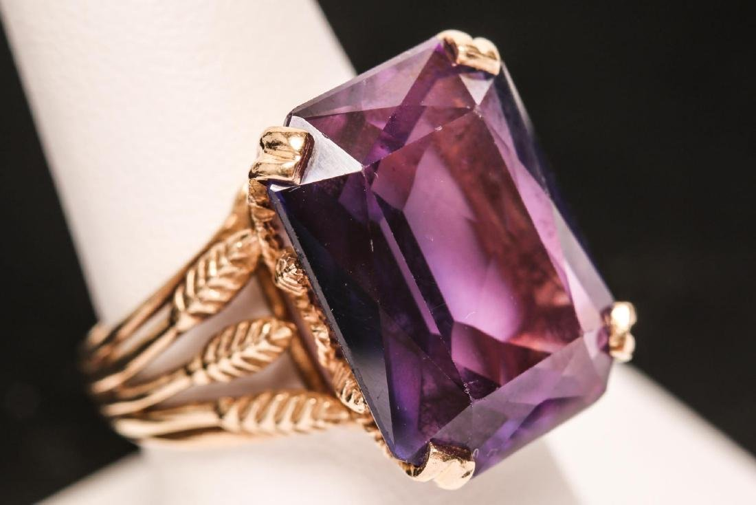 Purple Sapphire Cocktail Ring, 14K Gold Wheat-Ears