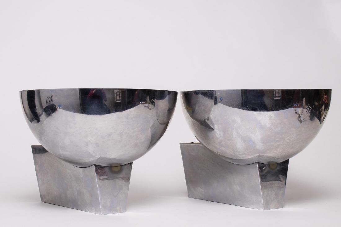 Perzel Art Deco Chrome Half-Globe Sconces, Pair