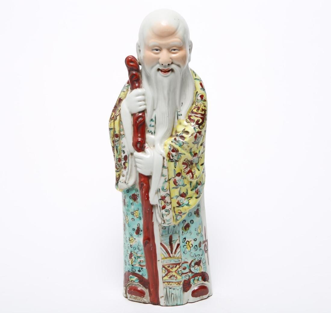Chinese Republic Famille Verte Porcelain Shou Lao