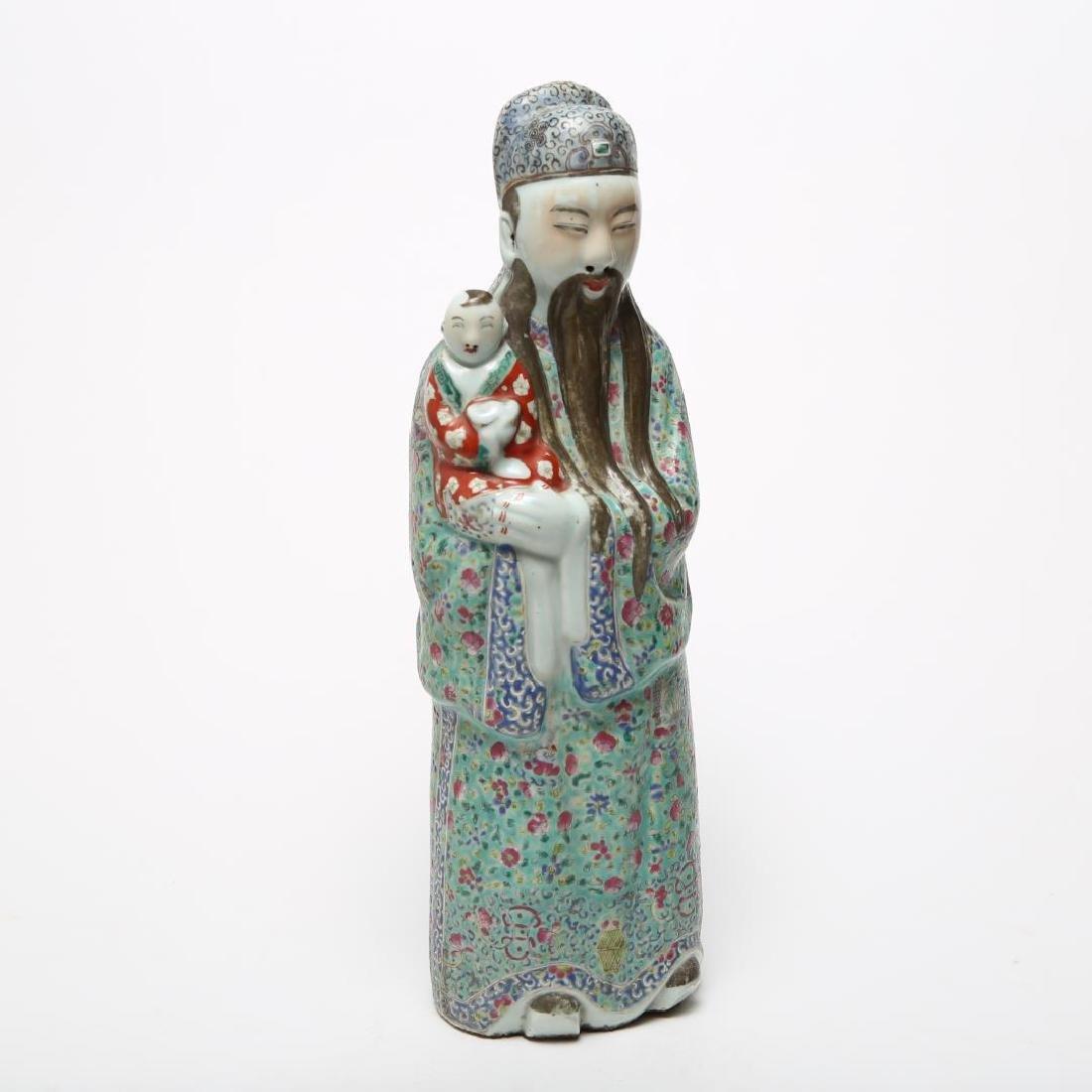 Chinese Republic Famille Verte Porcelain Fu w Boy