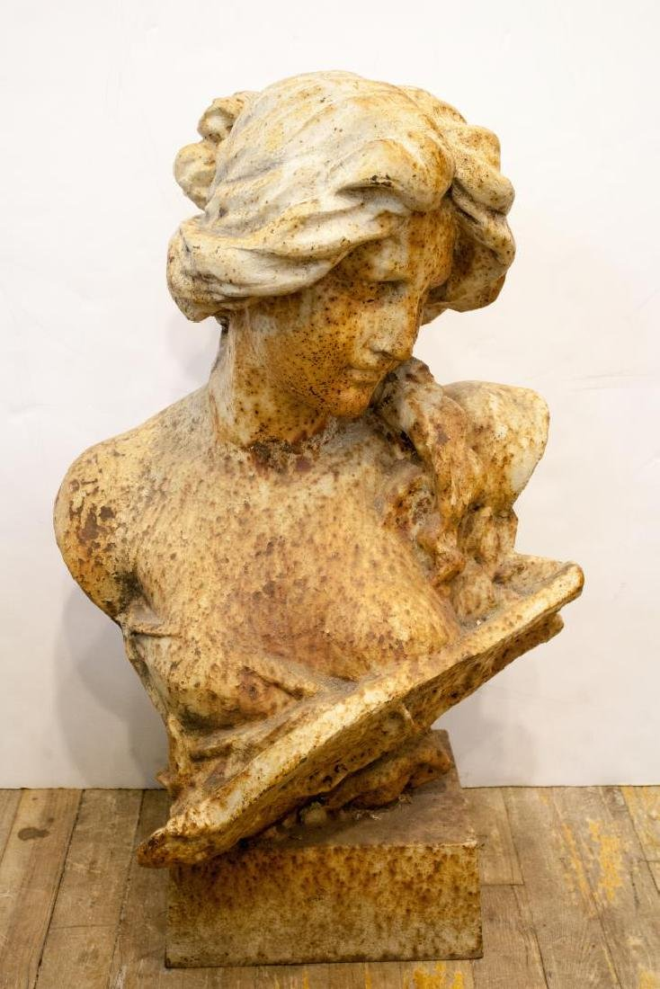 Iron Bust of a Woman, Vintage Sculpture