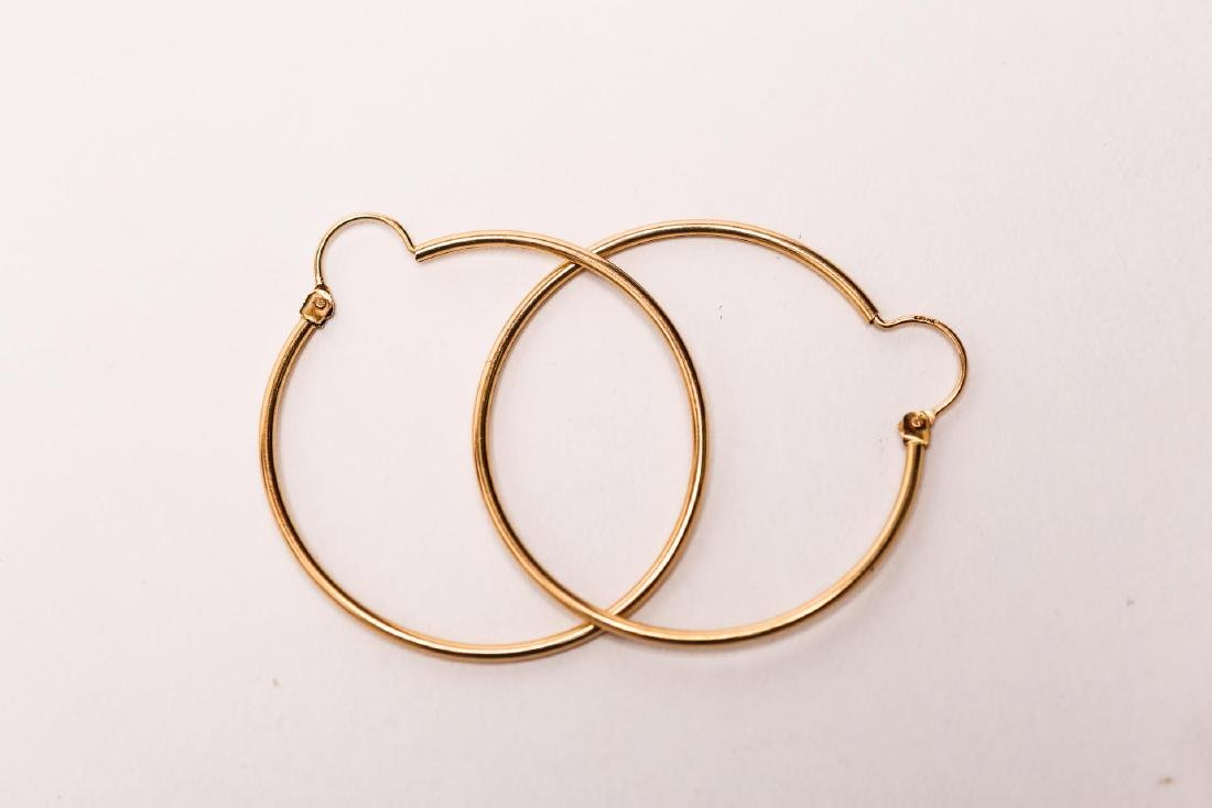 Gold Hoop Earrings, 14K Pair