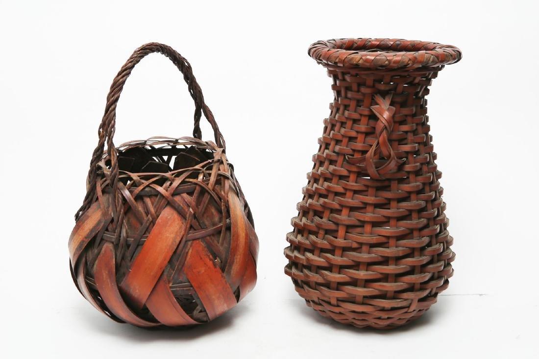 Japanese Ikebana Baskets, 2 Vintage Bamboo