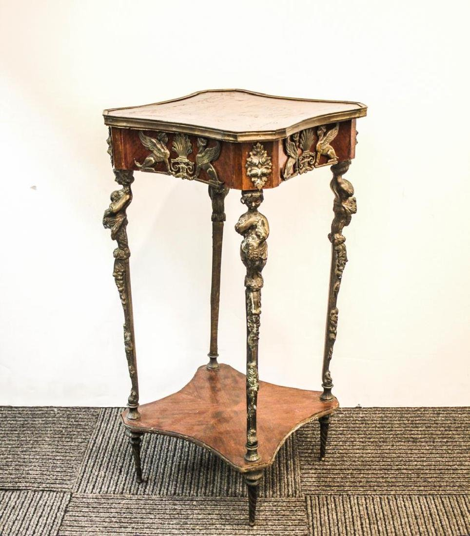 Gueridon, French Empire-Manner, Bronze & Marquetry