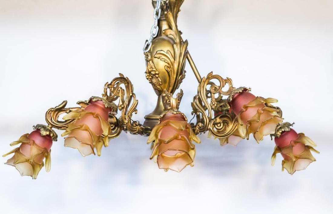 Victorian Chandelier, Ornate Brass Rococo-Manner