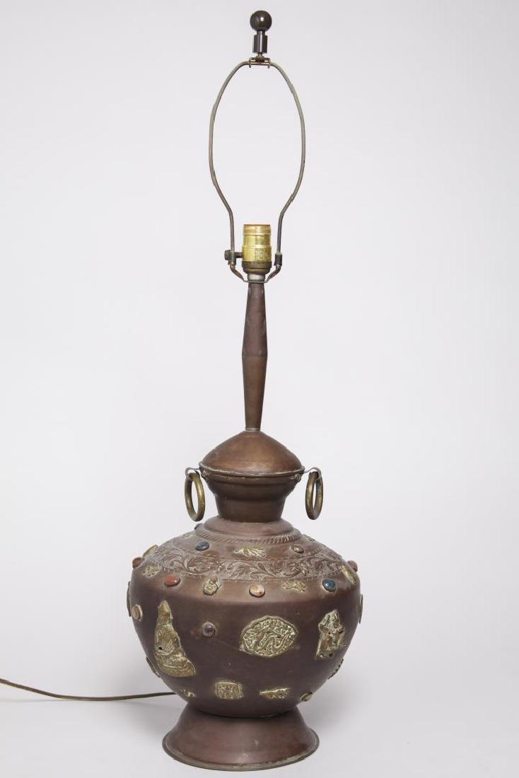 Vintage Tibetan Buddhist Urn Lamp