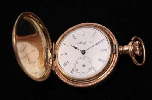 Elgin Pocket Watch Antique In Hunter Case Plated