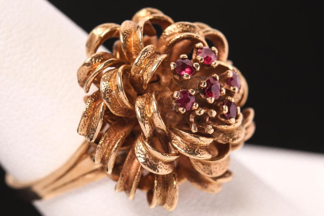 Ruby & 14K Gold Cocktail Ring, Gift Bow-Form