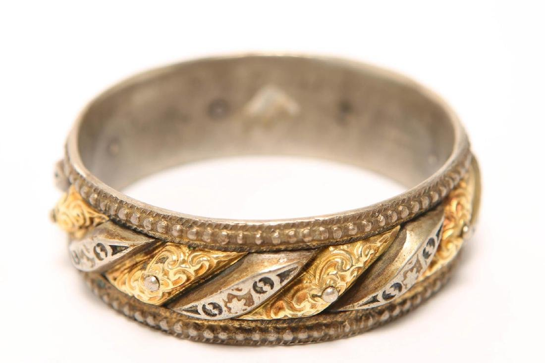 Renaissance-Revival Silver Bangle w. Applied Gold