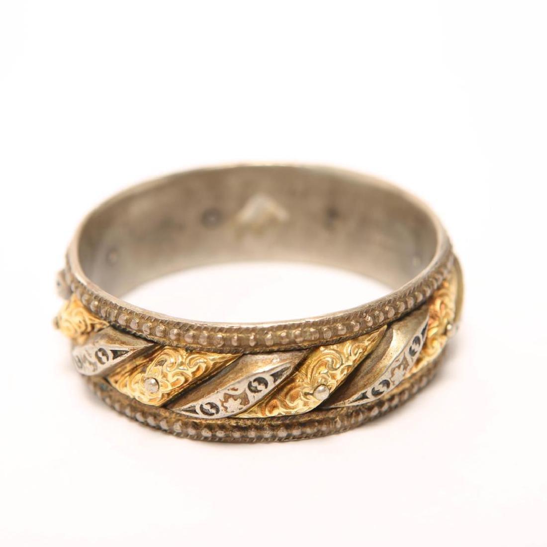 Renaissance-Revival Silver Bangle w. Applied Gold - 2