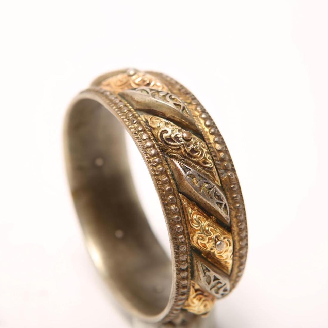 Renaissance-Revival Silver Bangle w. Applied Gold - 3