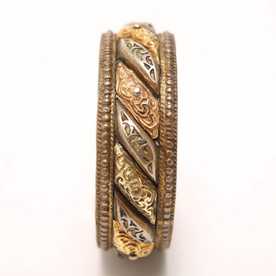 Renaissance-Revival Silver Bangle w. Applied Gold - 4