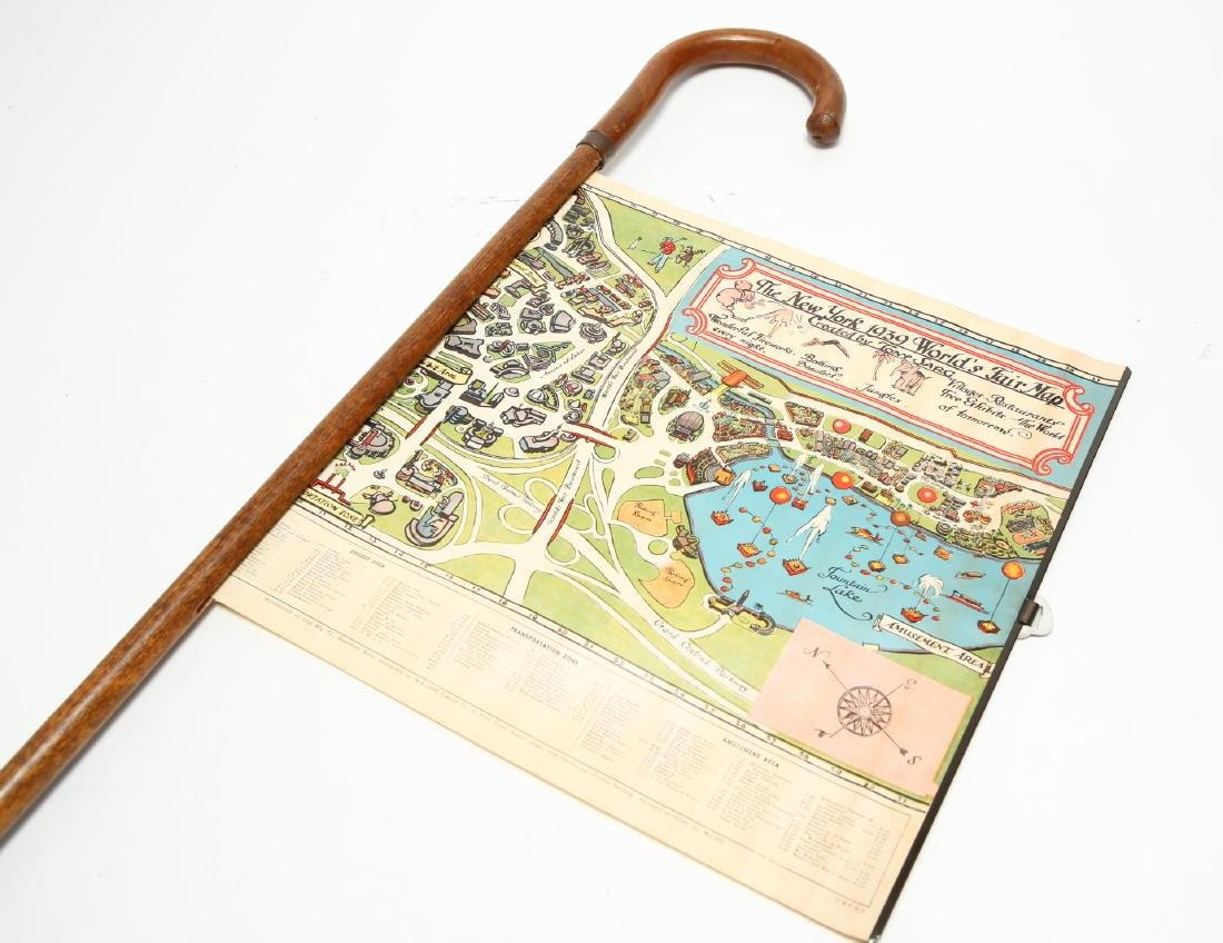 NYC World's Fair 1939 Walking Cane w Tony Sarg Map