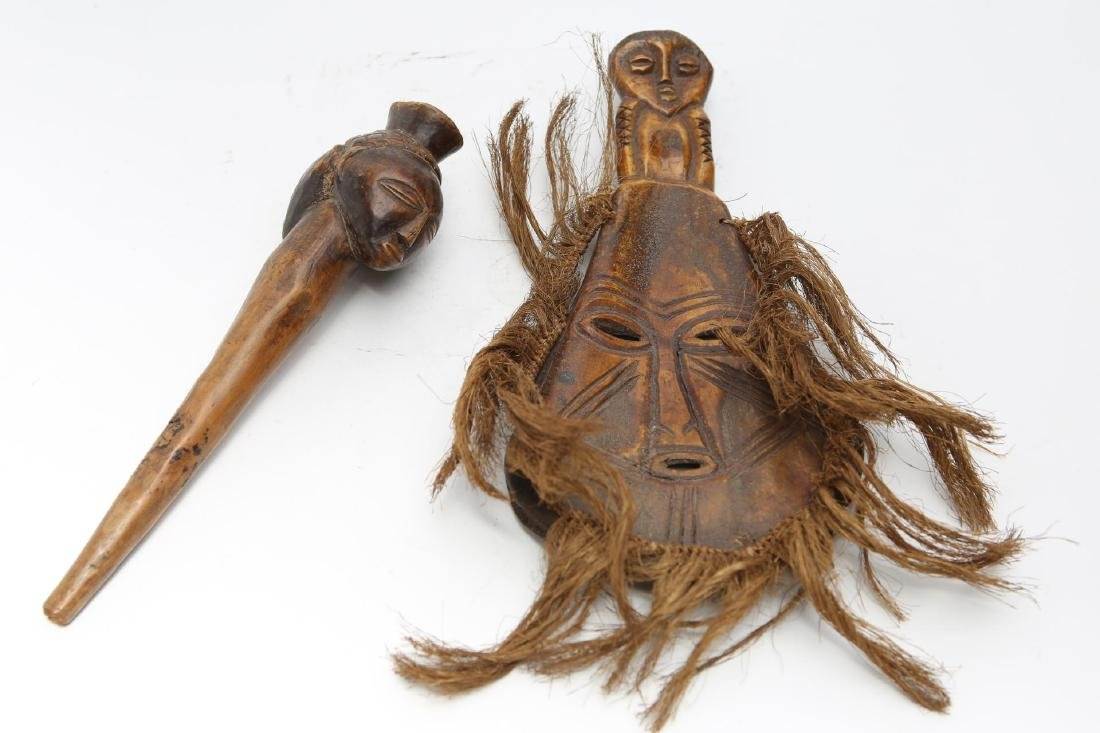 African Tribal Wood Fly Whisk Handle & Bone Mask