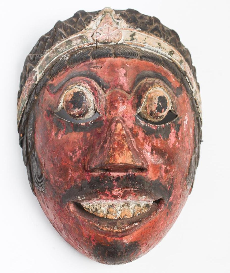 Southeast Asian Mask, Carved & Polychrome Wood