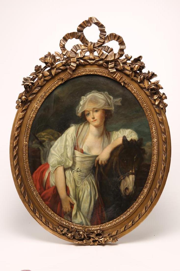 French School, Portrait of Girl & Pony- Oil