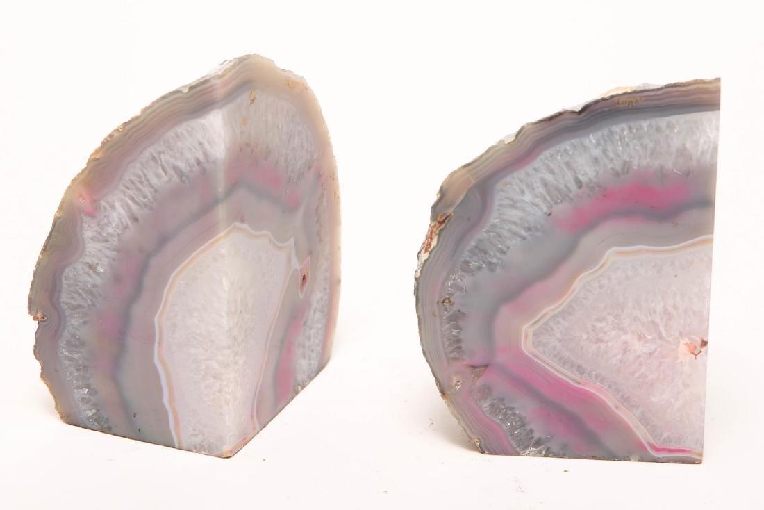 Natural Pink Agate Geode Bookends, Pair