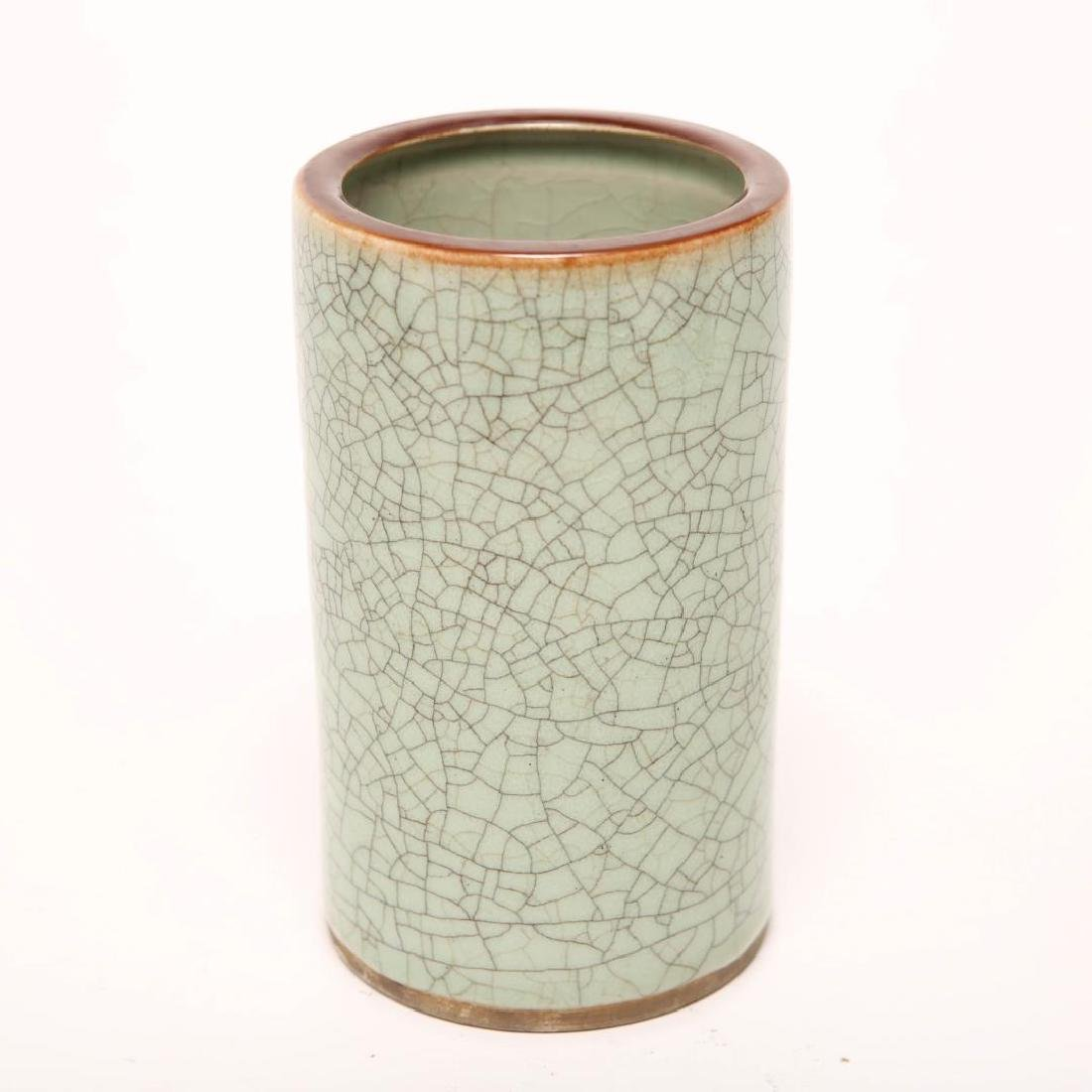 Chinese Guan Ware Brush Pot, Celadon Crackle-Glaze