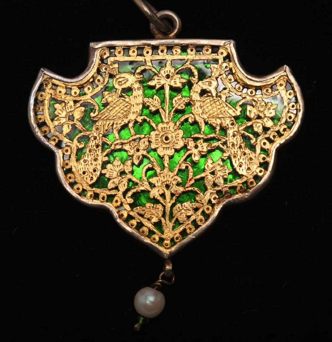 Indian Silver Pendant, Incised Gold over Enamel