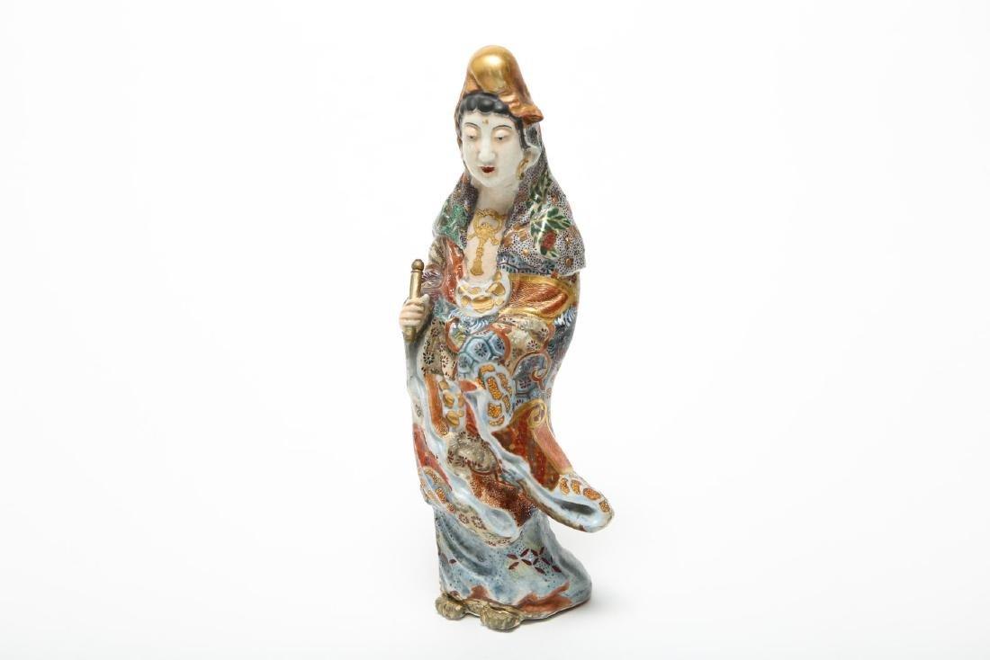 Japanese Satsuma Guanyin Pottery Figurine