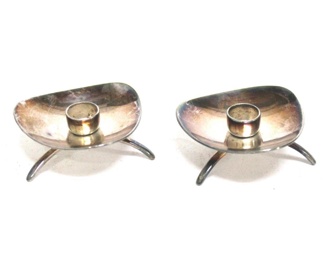 Danish Modern Silver Candleholders, Carl M. Cohr