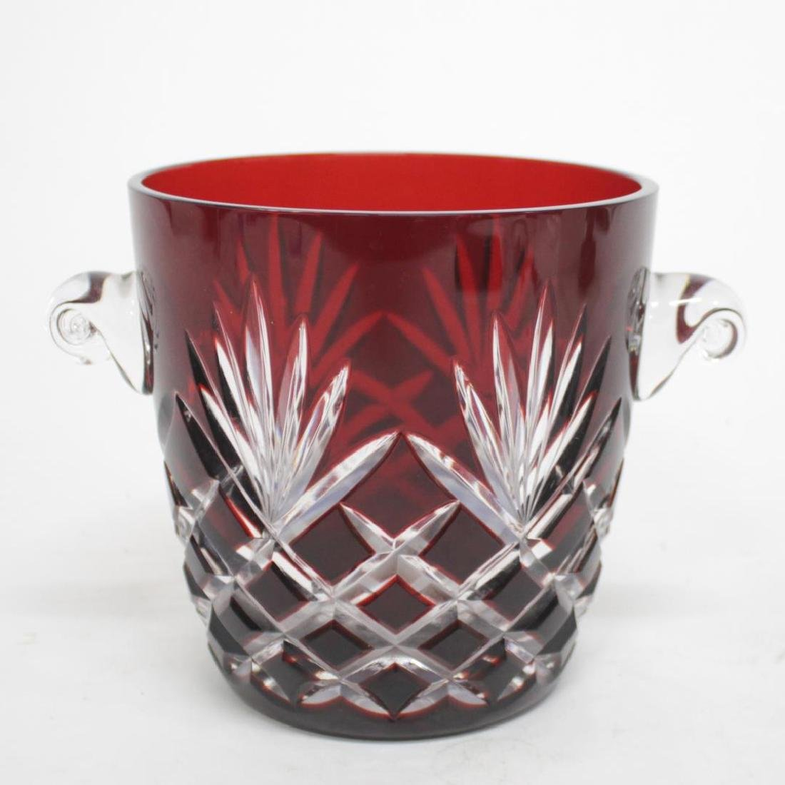 Faberge Wine Cooler Cranberry-Cut-to-Clear Glass