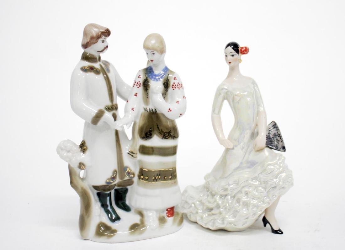Russian Porcelain Figures, 2 Vintage Soviet-Era