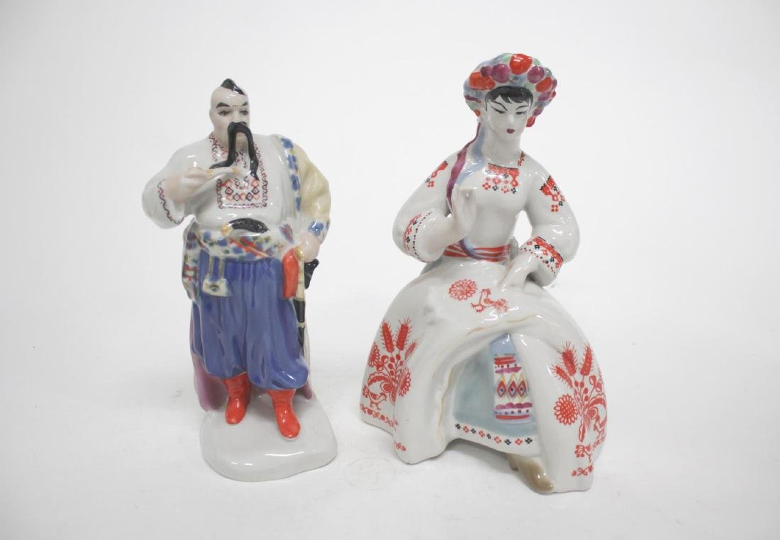 Russian Porcelain Figurines, 2 Vintage Soviet-Era