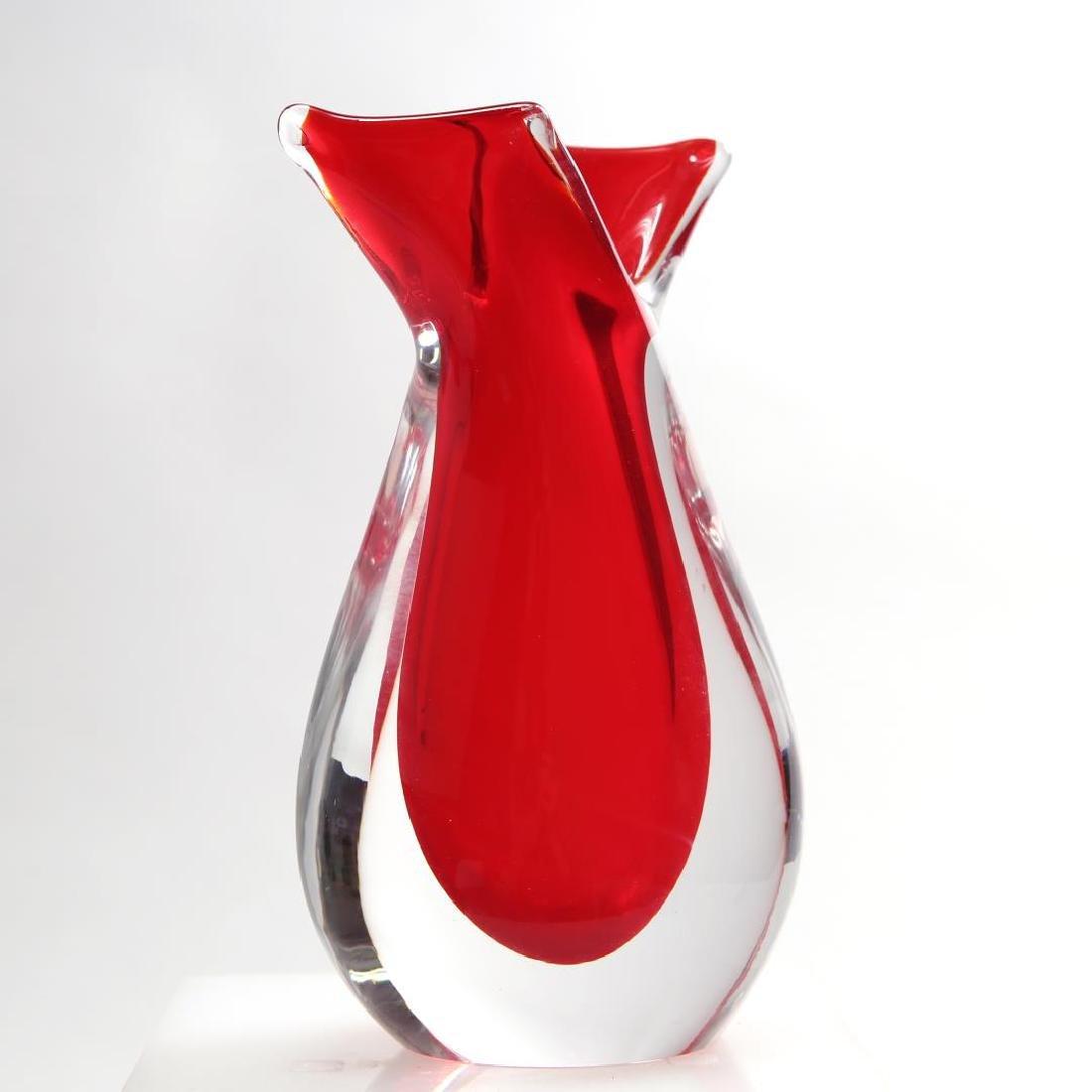 Venetian Murano Glass Vase, Red Sommerso