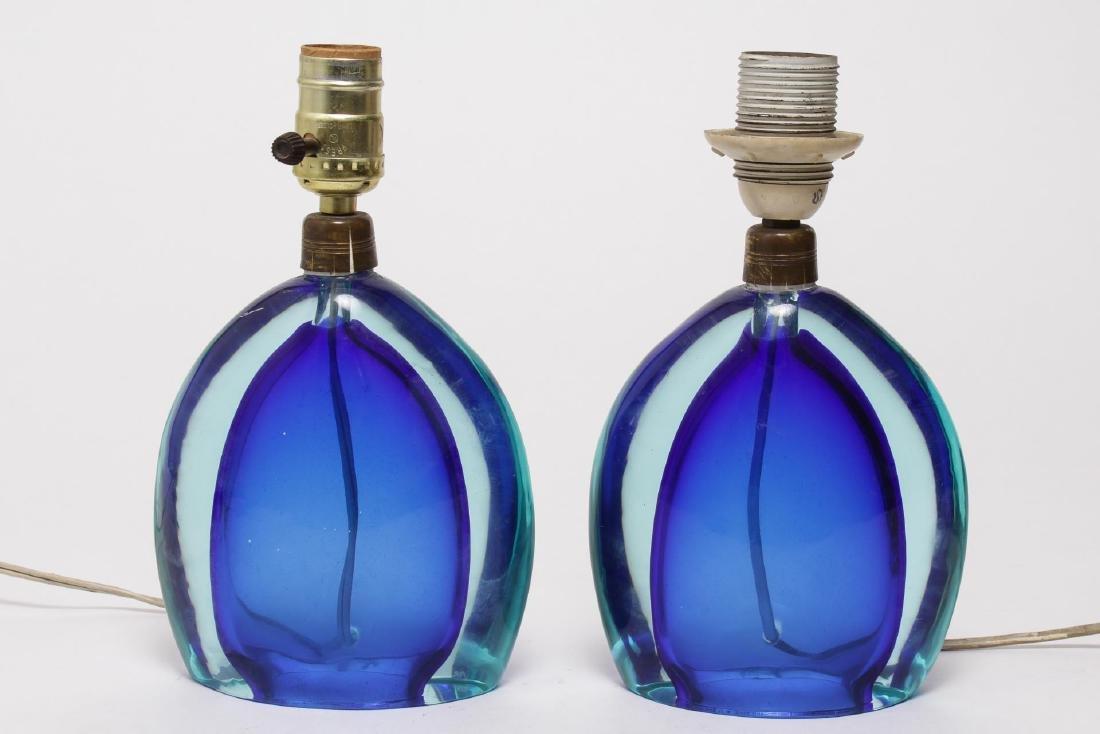 Venetian Murano Glass Lamps, Sommerso Cobalt Pair