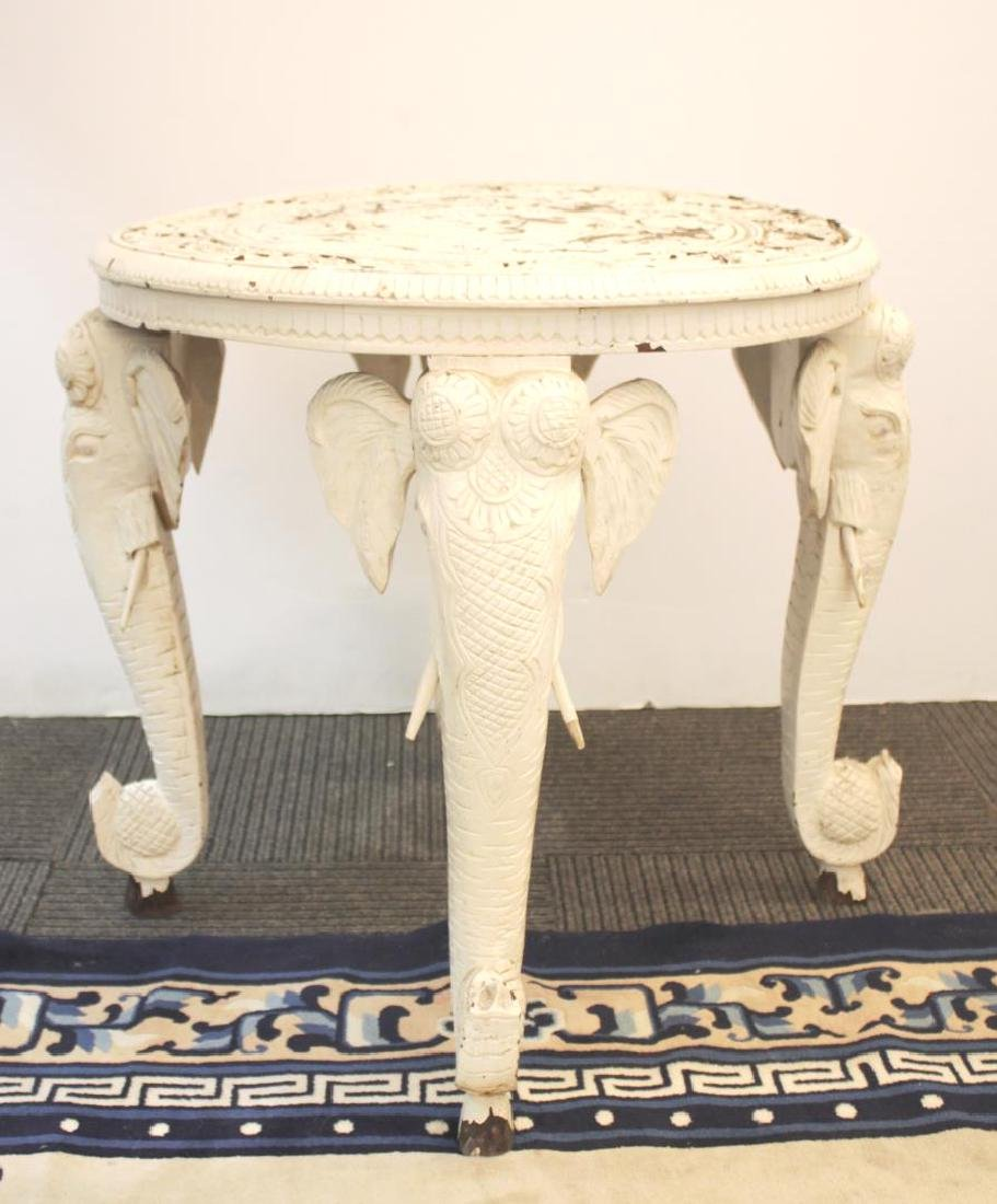 Anglo-Indian Elephant Head Table, Carved & Painted