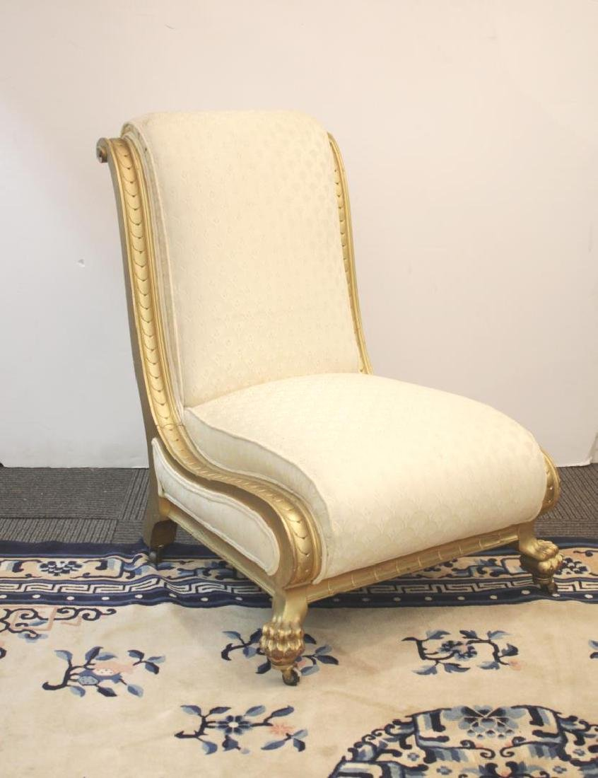 French Slipper Chair, Giltwood and Upholstered